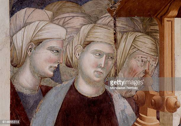 Italy Umbria Assisi Upper Church of the Basilica of StFrancis in Assisi Detail Observers watch the scene of the representation of the Nativity In...