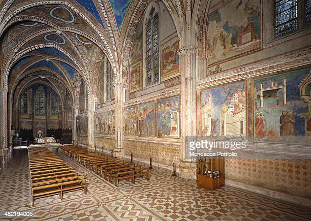 Italy Umbria Assisi Whole artwork view Franciscan monastic architecture with a single nave internally frescoed by Giotto Total foreshortened view of...