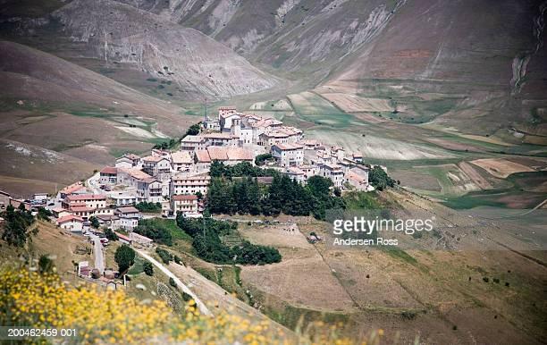 italy, umbria, castelluccio, cityscape, elevated view - castelluccio stock photos and pictures