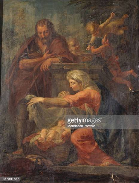 Italy Umbria Città di Castello Duomo All The Holy Family with the father Saint Joseph the mother Holy Virgin Mary and the son Child Jesus rests in a...