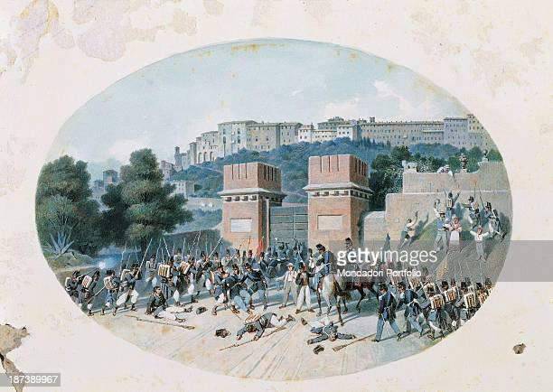 Italy Umbria Perugia Accademia di Belle Arti All An oval watercolors depiction of the taking of Porta Santa Margherita with Piedmontese troops and...