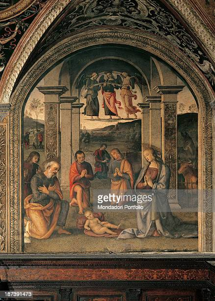 Italy Umbria Perugia Collegio del Cambio Total The scene of the Nativity with the Madonna Virgin Mary Christ Child Saint Joseph some sheperds angels...