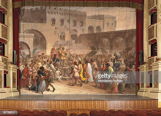 Italy Umbria Perugia Teatro Morlacchi All As background of a theatre framed by curtains and with the stalls in sight takes place a historical episode...