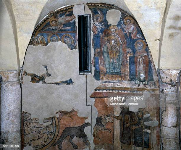 Italy Umbria Spoleto Church of Saint Ansano Whole artwork view Fragment of a fresco relocated in 1971 after a previous detachment and restoration In...