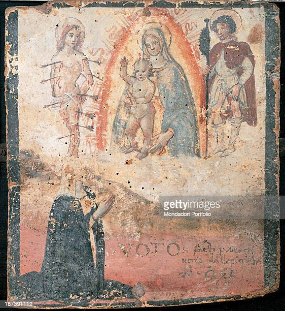 Italy Umbria Trevi Pinacoteca Civica All A woman probably recovered from the plague wears a white veil and a black cloak and thanks Holy Mary with...
