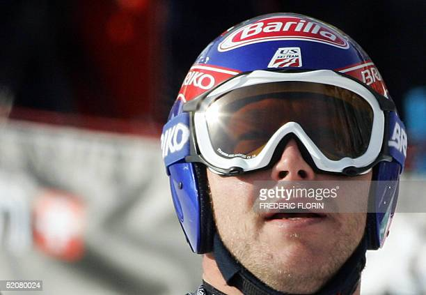 US Bode Miller reacts after finishing the Men's SuperG event at the World Ski Championships in Bormio 29 January 2005 US Bode Miller won ahead of...