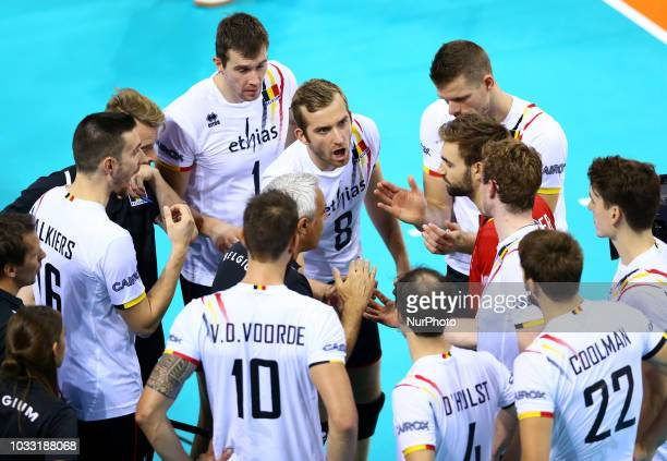 Italy v Belgium FIVP Men's World Championship Kevin Klinkenberg of Belgium with the teammates at Mandela Forum in Florence Italy on September 13 2018