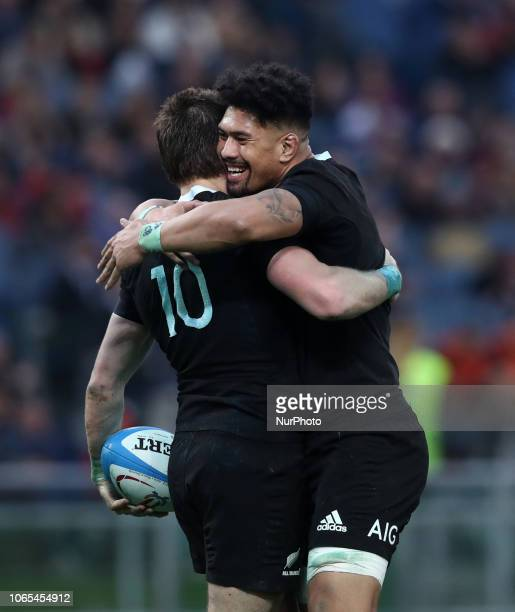 Italy v New Zealand All Blacks Rugby Cattolica Test Match New Zealands Beauden Barrett and Ardie Savea at Olimpico Stadium in Rome Italy on November...