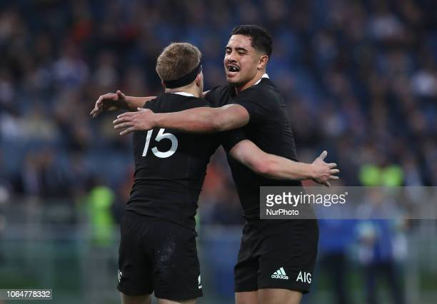 Italy v New Zealand All Blacks Rugby Cattolica Test Match New Zealands Damian McKenzie celebrates with New Zealands Anton LienertBrown at Olimpico...