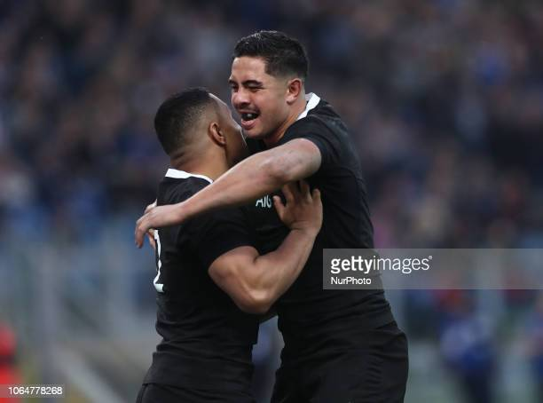 Italy v New Zealand All Blacks Rugby Cattolica Test Match New Zealands Ngani Laumape and New Zealands Anton LienertBrown celebrate at Olimpico...