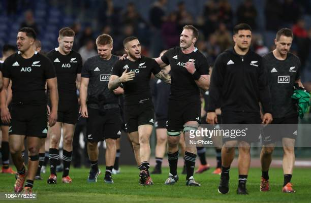 Italy v New Zealand All Blacks Rugby Cattolica Test Match New Zealands TJ Perenara and New Zealands Kieran Read celebration at Olimpico Stadium in...