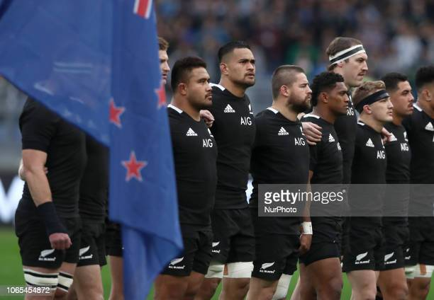 Italy v New Zealand All Blacks - Rugby Cattolica Test Match New Zealand during the national anthem at Olimpico Stadium in Rome, Italy on November 24,...