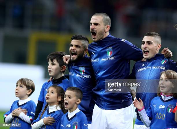 Italy v Portugal UEFA Nations League League A Lorenzo Insigne Leonardo Bonucci and Marco Verratti of Italy during the national anthem at San Siro...
