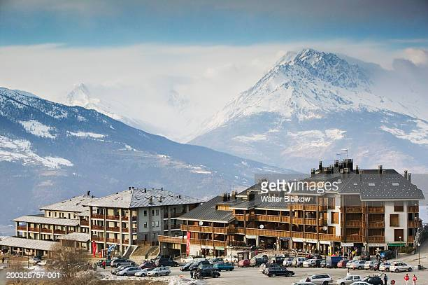 italy, valle d'aosta, pila ski resort, winter - valle d'aosta foto e immagini stock