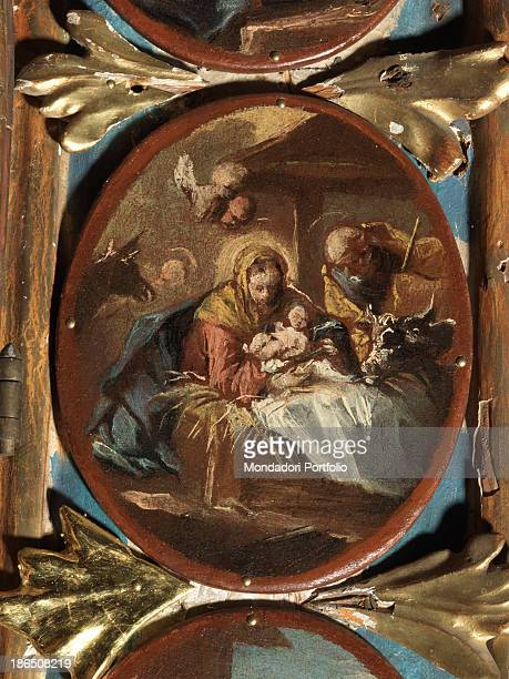 Italy Veneto Belluno Goima di Zoldo St Tiziano's church Whole artwork view The Nativity with Mary Jesus and Joseph