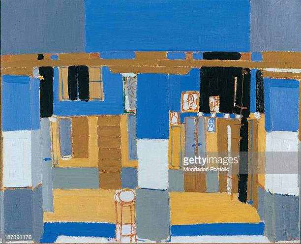 Italy Veneto Belluno Museo Civico All Interior of a house with rooms windows colums and wardrobes painted in yellow blue grey and white