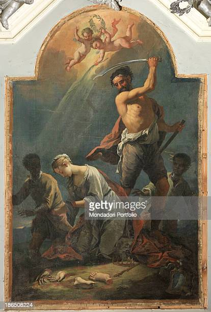 Italy Veneto Belluno Sossai parish church Whole artwork view In the center of the canvas a Saracen beheading the young girl in the upper part of the...