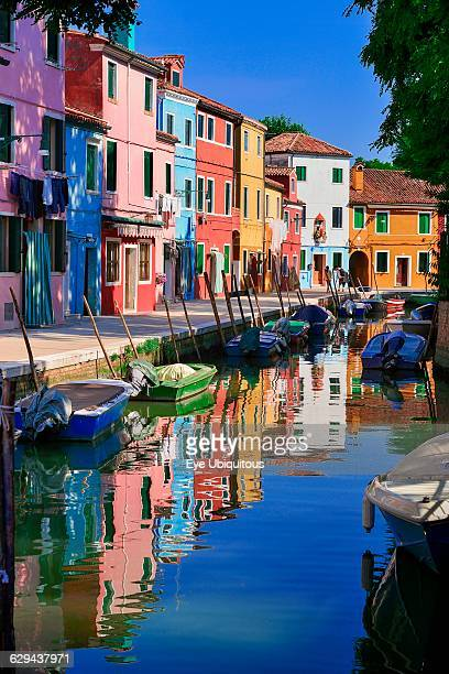 Italy Veneto Burano Island Colourful housing on Fondamenta Cao di Rio a Destra