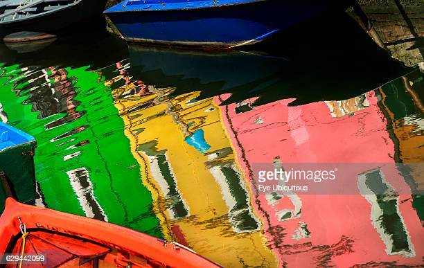 Italy Veneto Burano Island Colourful reflections on Fondamenta di Cavanella