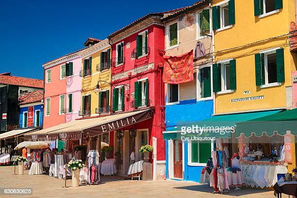 Italy Veneto Burano Island Colourful row of house facades