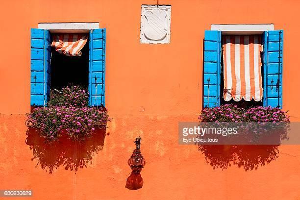 Italy Veneto Burano Island Colourful row of house facades