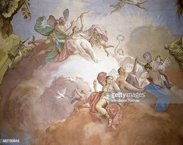 Italy Veneto Cinto Euganeo Valnogaredo Villa Contarini Rota Detail Diana and winged female figures