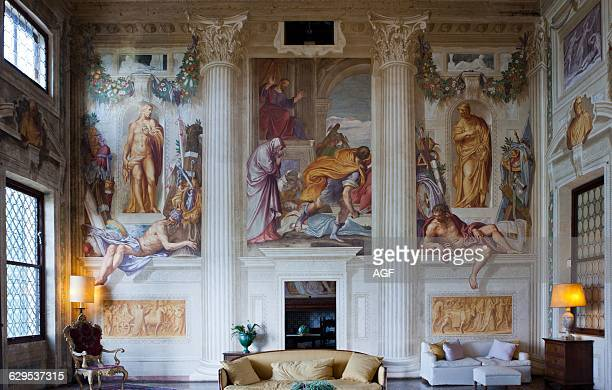 Italy Veneto Fanzolo Di Vedelago Fresco Paintings Of Battista Zelotti In Villa Emo Halls Architect Andrea Palladio