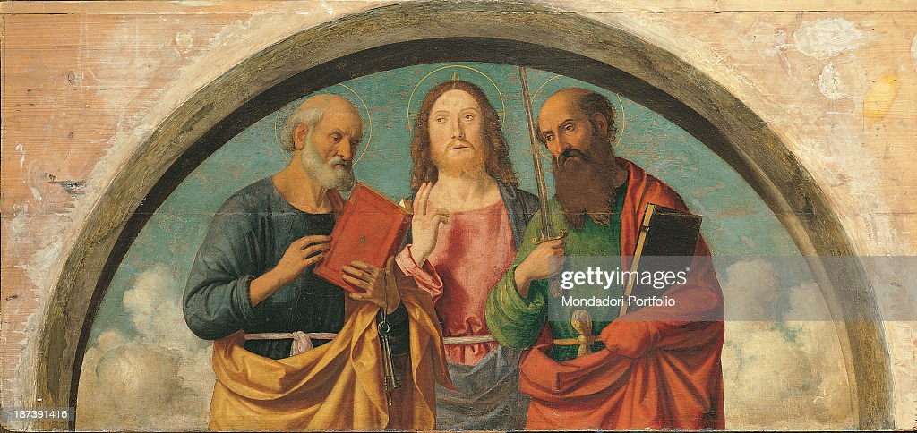 Christ between st peter and st paul by giovanni battista cima italy veneto feltre museo civico total christ is between the apostles voltagebd Images