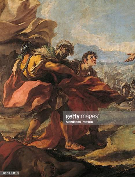 Italy Veneto Padova Cassa di Risparmio di Padova e Rovigo Detail Men with particular head gears look at the corpse of Darius with excitement and...