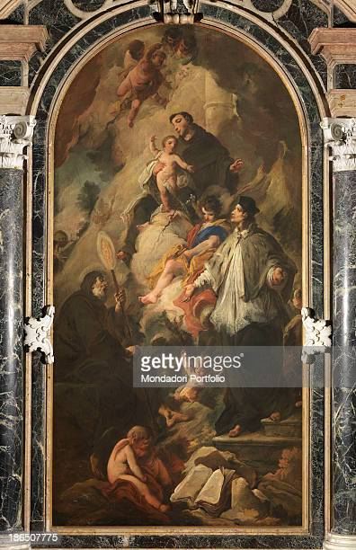 Italy Veneto Padua Church of the Holy Cross Whole atrwork view St Anthony with Child Jesus in his arms St John next to a young angel St Francis In...
