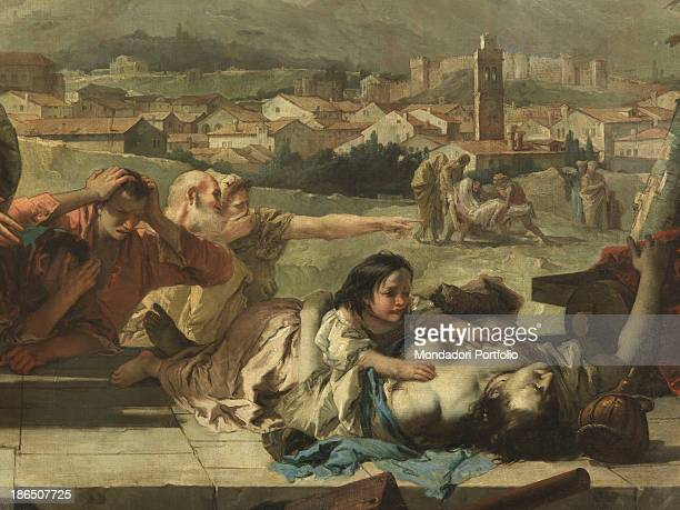 Italy, Veneto, Padua, Este, Cathedral of Santa Tecla, Detail, In the foreground the young Saint cries and fearlessly hugs a body affected by the...