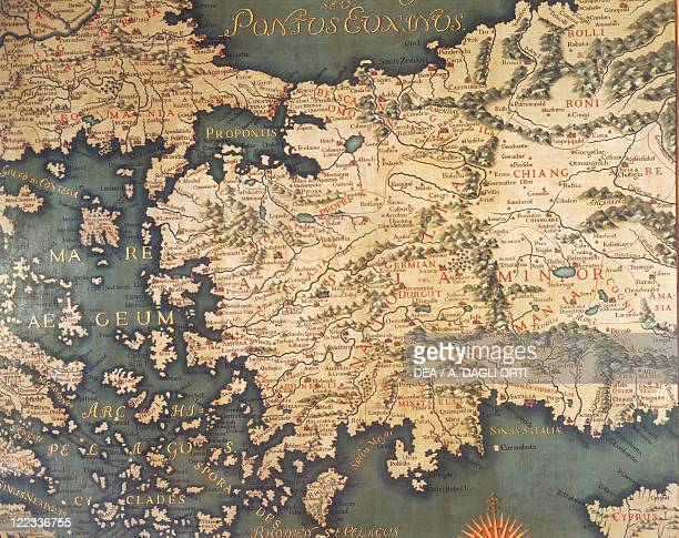 Italy - Veneto region - Venice. Doge's Palace . Interior, Hall of the Maps . Detail, map of Turkey.