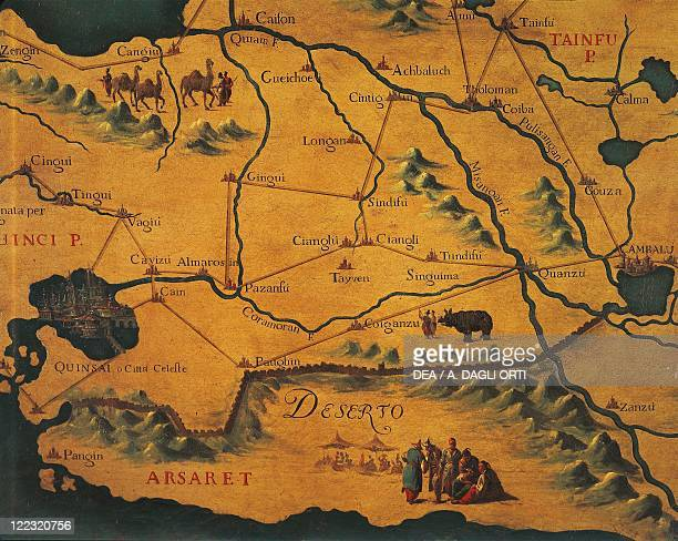 Italy Veneto Region Venice Palazzo Ducale Map Room Marco Polo's route across the eastern Deserts Maps by Gian Battista Ramusio and Francesco...