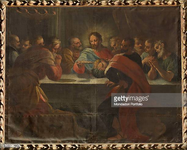Italy Veneto Rovigo Canaro Saint Sophia's church Whole artwork view The table has at the center Jesus blessing the bread and around him the twelve...