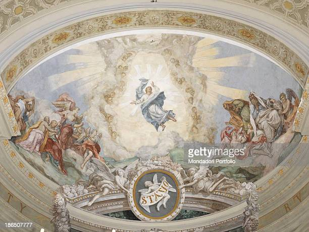 Italy Veneto Rovigo Lendinara Cathedral of St Sophia apsidal basin Whole artwork view Christ in a cloudy almond in the center of the composition On...