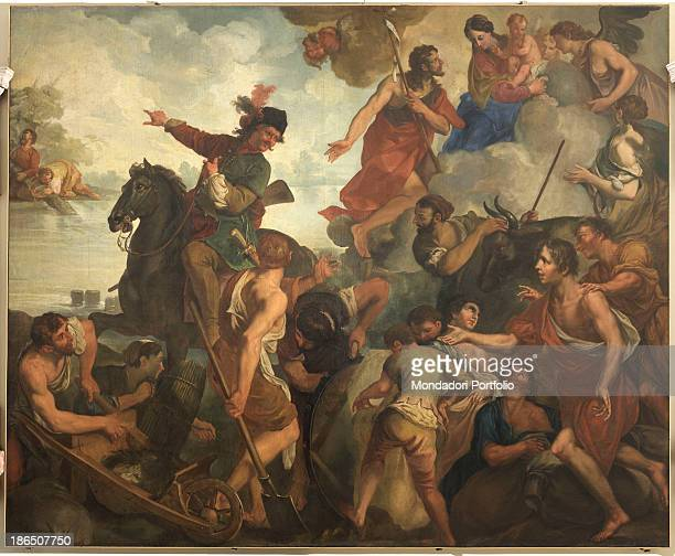 Italy Veneto Rovigo Lendinara sanctuary of Our Lady of Pilastrello Whole artwork view The scene is very animated Figures of men and women are crowded...