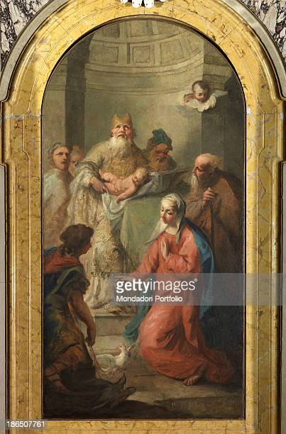 Italy Veneto Rovigo Parish of St Francis and St Giustina Whole artwork view In the foreground Holy Mary kneeling in front of the priest Simeon...