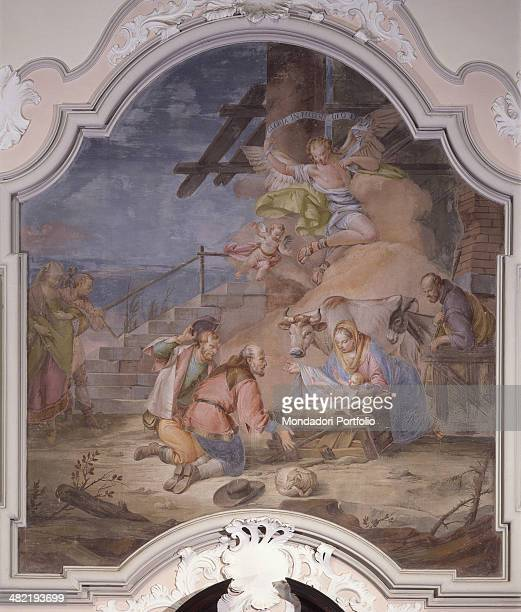 Italy, Veneto, Scorzé, Parrish Church of St. Benedict the Abbot. Whole artwork view. Shepherds in adoration of Baby Jesus with Mary and Joseph, an ox...