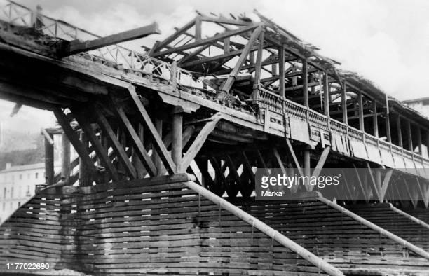 Italy. Veneto. The old bridge of bassano del grappa after the war. 1945-50.