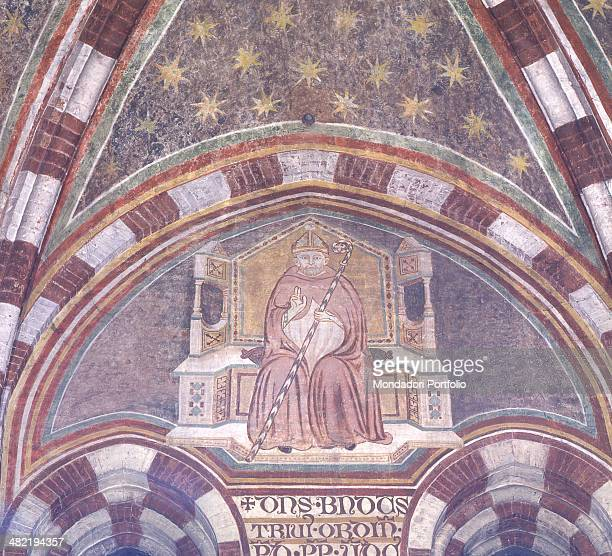 Italy Veneto Treviso Church of Saint Nicolò Detail Fragment of a fresco with portrait of the Pope and vault with starry sky