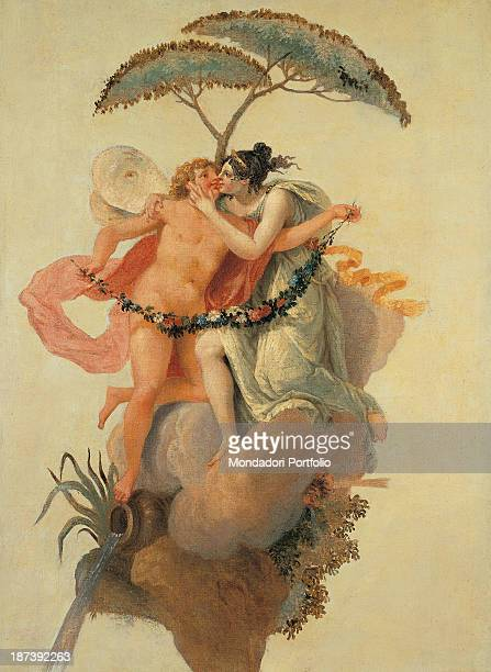 Italy Veneto Treviso Museo Civico All Panel of the 'Caffè da Pacho' portraying Eros and Psyche kissing on a cloud