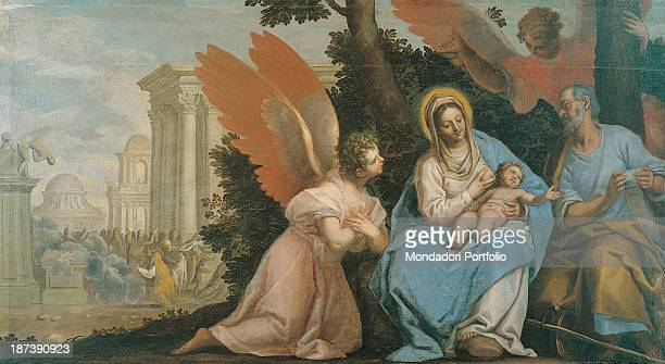 Italy Veneto Treviso Museo Civico All The Holy Family resting in a hiding place behind bushes and trees during the escape to Egypt The Virgin Mary is...
