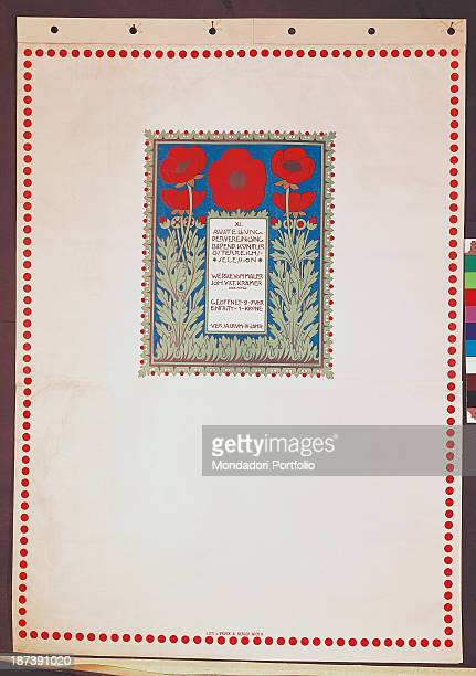 Italy Veneto Treviso Museo Civico Luigi Bailo All Poster of the exibition of the XI Austrian Secession In a framed square with floral decoration is...