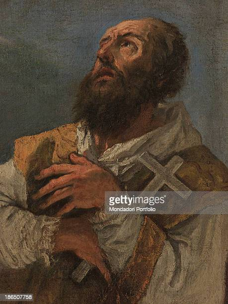 Italy Veneto Treviso Padernello di Paese parish church Detail St Valentine holding a cross