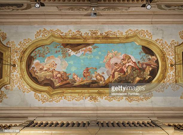 Italy Veneto Treviso Palace Giacomelli Celebration Room Whole artwork view Jubilant Bacchus with people and putti in a mixtilinear frame