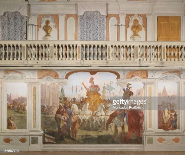Italy Veneto Treviso Villabona vecchia Ca' Zenobio Whole artwork view Overview of the entire intervention decorative wall This is divided into two...