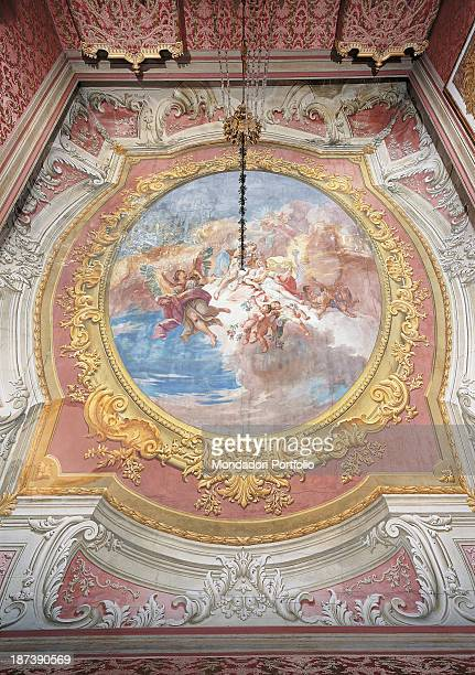Italy Veneto Venezia Palazzo Pisani Moretta All Fresco with decorations and stucchi on the ceiling where rose white light blue are the predominant...