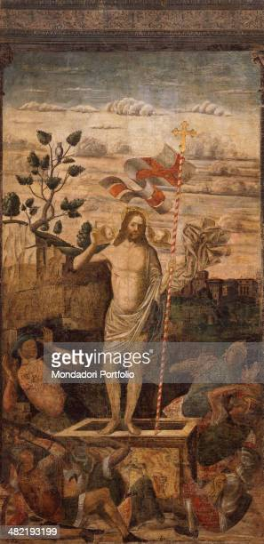 Italy Veneto Venezio Saint Basso Athenaeum Whole artwork view Risen Christ standing in the center of the group of soldiers on the ground A landscape...