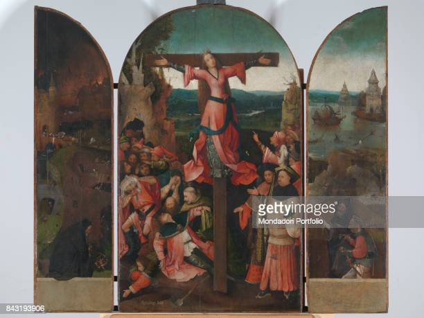 Italy Veneto Venice Accademy Art Galleries Whole artwork view The central panel depicts the crucifixion of a saint usually identified with Saint...