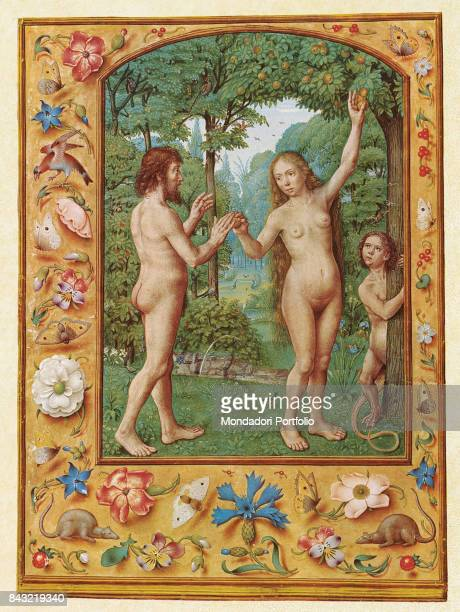 Italy Veneto Venice Biblioteca Nazionale Marciana Detail Eve about to take a fruit from the tree of knowledge in the garden of Eden
